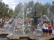 Playing in the fountains, Centro Historico