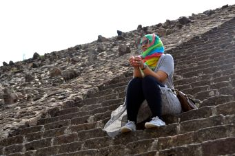 Resting on the pyramid steps