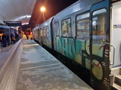 Train at Meteora station